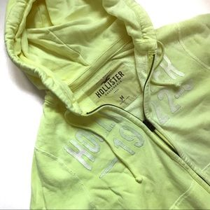 Hollister Neon Yellow Distressed Hoodie Med